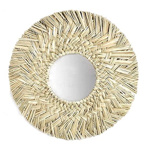 Espejo De Pared De Estilo Nórdico, Espejos De Pared De Hierba De Pared Tejida a Mano De Estilo Nórdico Redondo Espejo Colgante Decorativo
