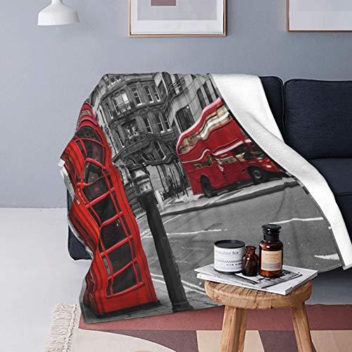 Felpa Manta de Tiro para Todas Las Estaciones Suave Ligero Calentar,Londres Blanco y Negro,Cómodo Manta de Cama Edredón de Viaje para Sofá Cama,50' X 60'