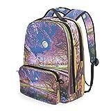 CPYang Schulrucksack Japanischer Baum Galaxy Mond Abnehmbare Schulter Crossbody Tasche Reise Laptop Rucksack für Mädchen Jungen Frauen Männer