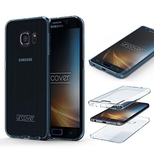 Urcover Compatible con Samsung Galaxy S6 Edge Funda Carcasa Protectora 360 Grados TPU en Azul Protección Completa Case Cover