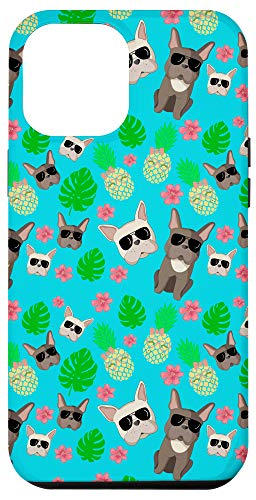iPhone 12 Pro Max Frenchie And Pineapple Sunglasses Hawaii Theme Case