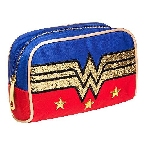 Wonder Woman Gold Glitter Logo Make-Up Bag, Red and Blue