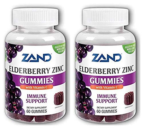 Zand Elderberry Zinc Gummies (Pack of 2) with Tapioca Syrup, Pectin, Palm, Coconut and Beeswax, 60 Count Each