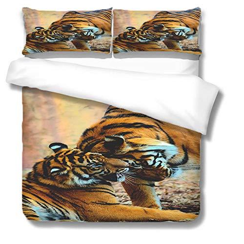 tigre Lenzuola Matrimoniali Completo Animali amore leoni Copripiumino Matrimoniale 220 x 240 cm Stampato 3 pezzi con 2 federe 50 x 75 cm per Letto Matrimoniale