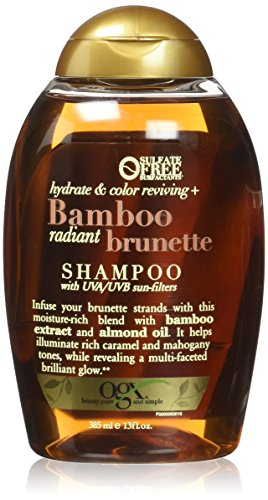 OGX Bamboo Radiant Brunette Shampoo, 13 Ounce Bottle, Hydrate & Revive Color