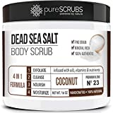 pureSCRUBS Premium Organic Body Scrub Set - Large 16oz COCONUT BODY SCRUB - Dead Sea Salt Infused Organic Essential Oils & Nutrients INCLUDES Wooden Spoon, Loofah & Mini Organic Exfoliating Bar