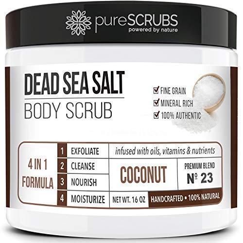 pureSCRUBS Premium Organic Body Scrub Set - Large 16oz COCONUT BODY SCRUB - Dead Sea Salt Infused Organic Essential Oils & Nutrients + FREE Wooden Spoon, Loofah & Mini Organic Exfoliating Bar Soap