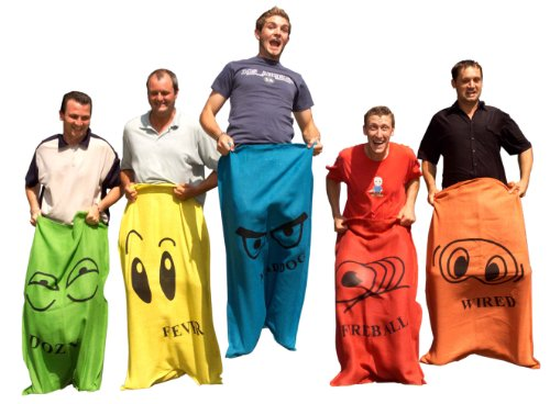 Garden Games Potato Sack Race Bags, 5 Adult Sized Hessian Sacks for Racing in a Heavy Duty Storage Bag