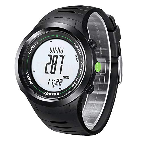 spovan Sport Bergsteigen Uhr, 3D Schrittzähler Thermometer Höhenmesser Barometer Wettervorhersage Höhe Uhr leuchtende wasserdichte Multifunktions,D