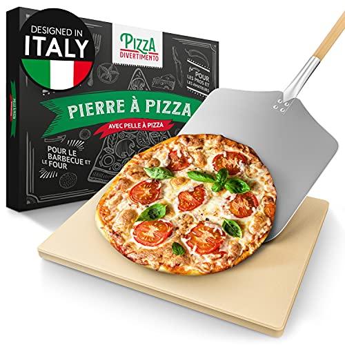 Pizza Divertimento Pierre à pizza pour four - Avec pelle à pizza en bois - Pierre pizza en cordiérite - Pour une base croustillante et une juteuse