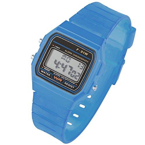 Taffstyle Damen Herren Sportuhr Silikon Armbanduhr 80er Jahre mit Alarm Datum Kalender Viereckig Vintage Retro Digital Uhr Hellblau