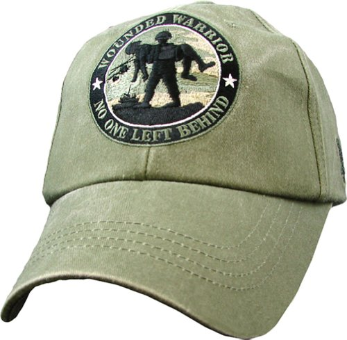 USA Wounded Warrior No One Left Behind Embroidered Hat - Buckle Closure Cap, Olive Drab, Adjustable