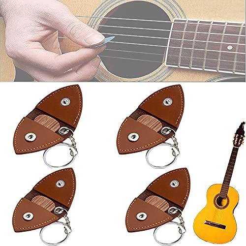 Osdvod Funda Protectora para púas de Guitarra, Bolsa de Almacenamiento, Llavero, Llavero de Cuero para púas de Guitarra, Hecho a Mano, Regalo para guitarristas (B)