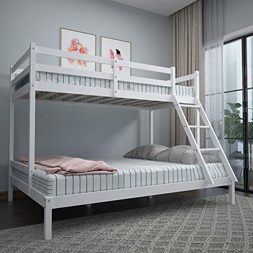 HUIJK Triple Sleeper Wooden Bunk Bed Frame 3FT Single and 4FT6 Double Bed Solid Pine