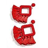 Big Red Beaded Statement Tassel Earrings, Bohemian Handmade Laniyah Fringe Drop Earrings for Womens Gift For Her, Mom, Sister and Friend