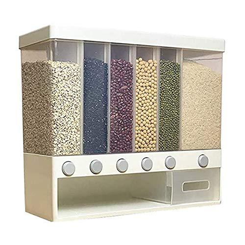 YEXINTMF Dispensador de alimentos montado en la pared, caja de almacenamiento de alimentos, cereales sellados de cereal a prueba de humedad Capacidad de grano de grano 6-cuadrícula, para hogar y cocin