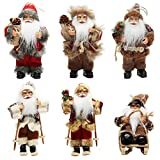 CHENGMON 6' Inch Ornament Santa Claus Christmas Standing Sleigh Skiing Holiday Figurine Collection Doll Penda Small Xmas Tree Hanging Decoration Traditional Handmade Set of 6 Pcs Assortment Pack
