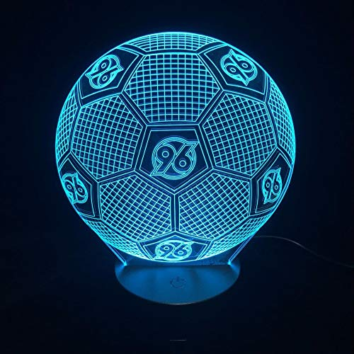 FaceToWind Football Soccer Series Night Lights Colorful Color Brightness Adjustable USB and Battery-Powered Acrylic Material Home Decorations for Kids Gifts, Hannover 96