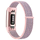 Nylon Loop Bands Compatible with Fitbit Charge 4 / Fitbit Charge 3 / Charge 3 SE Band, Soft Adjustable Breathable Replacement Band for Women and Man (Pink sand)