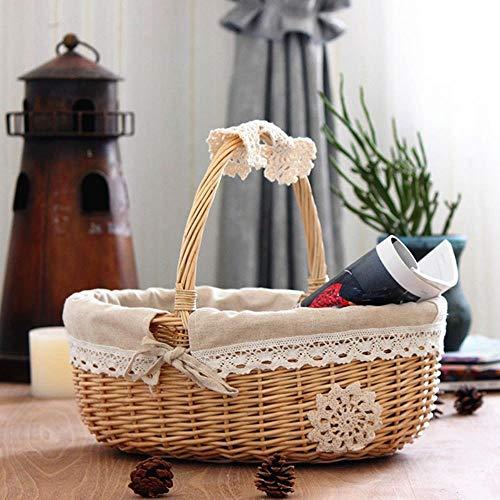 FICI Home Rieten Opbergdoos Mand Rotan Picknick Mand Fruit Bloemmandjes met Deksel en Handvat en Witte Liner