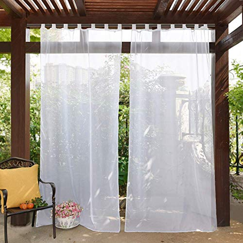 PONY DANCE White Sheer Curtains Outdoor - Tab Top Voile Sheers Panels Water Resistant Curtains Sun Screen Drapes for Porch Decor with Rope Tieback, W 54 inch x L 84 inch, 1 Piece