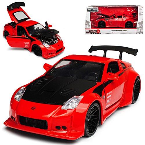 Nissan 350Z Coupe Rot JDM Tuners 2002-2009 1/24 Jada Modell Auto mit individiuellem Wunschkennzeichen
