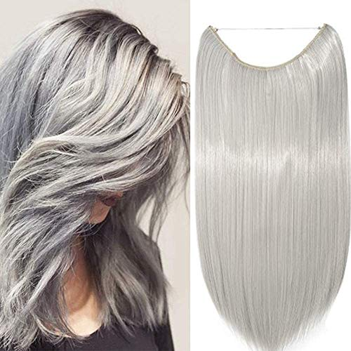 Extension Capelli Filo Invisibile Fascia Unica Lisci Finti Fibre Hair Extensions 3/4 Full Head senza Clip 50cm - Grigio Argento