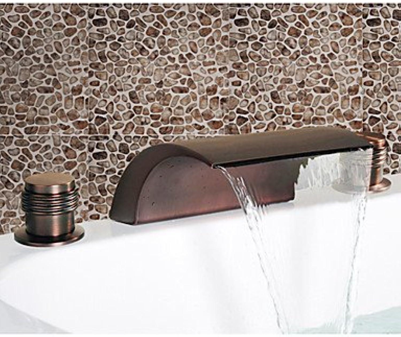 HMer Oil Rubbed Bronze Waterfall Widespread Sink tap