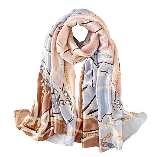 QYX Damen Schal 100% Seide Edles Großes Seidentuch Lang Halstuch Pashmina Halstücher Seidenschal Geschenk für Frauen 90 x 180 cm (Rosa Muster)