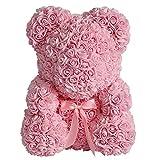 Qivange - Oso de rosa artificial con diseño de oso de peluche, rosa para siempre, flor falsa, regalo para San Valentín, aniversario, boda, cumpleaños, día de la madre, aniversarios (rosa, 25 cm)
