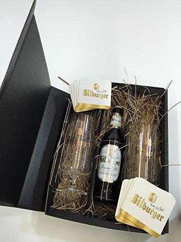 Bitburger Pils Set/Geschenkset - 1x Bitburger Premium Pils 500ml (4,8% Vol) + 2x Bitburger Gläser + 10x Bitburger Bierdeckel - Inkl. Pfand MEHRWEG