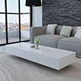 Rectangular Coffee Table Modern Elegant MDF High Gloss Coffee Table Side Table Living Room Home Furniture (White-45.3inch)