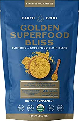 Earth Echo: Golden Superfood Bliss - Turmeric and Superfood Elixir Blend - 30 Servings - Supports Immunity, Restful Sleep, and Stress Relief - Helps Reduce Inflammation and Boosts Mental Function