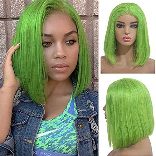 Perruque de cheveux courts avec nœuds décolorés et dentelle pour femme noire - 30 cm - Vert clair - 30 cm