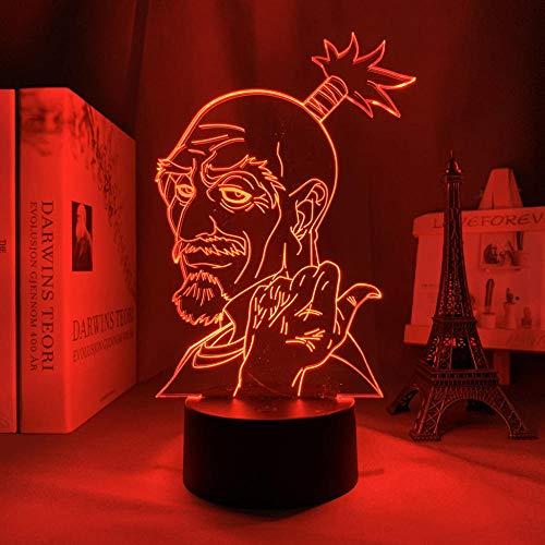 Luz nocturna 3D con diseño de anime Netero Isaac, lámpara Hunter X Hunter 3D, LED, luz nocturna para niños, dormitorio, decoración, Navidad, cumpleaños, regalo, lámpara de mesa, 7 colores tocando