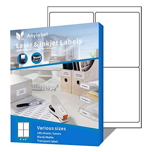 Anylabel 4 UP 4' x 5' Shipping Address Labels for Laser & Inkjet Printer Easy Peel Adhesive (100 Sheets, 400 Labels)