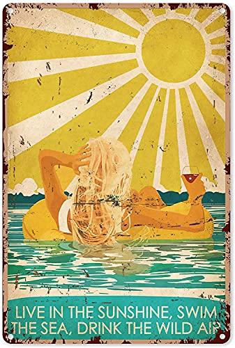 Zwembad Decoratie Borden Leven in De Zonneschijn Zwemmen De Zee Drinken Wijn Metalen Teken 8×12″