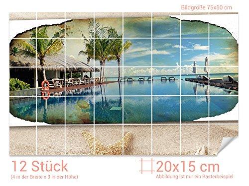 GRAZDesign Klebefliesen Strand - Fliesenbilder selbstklebend Seesterne - Fliesenfolie Meeresblick - Fliesenaufkleber Küche glänzende Folie / 20x15cm (BxH) / 766243_20x15_50