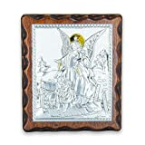 La Balestra Icono Ángel de la guarda - Cuadro plateado - Dorado - Icono Sagrada - sobre panel de madera natural - Fabricado en Umbria Italy - (13 x 11,5 cm)
