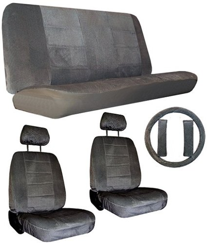CPR Racing USA Quilted Velour Regal 2 Low Back Bucket Seat Covers 2 Head Rest Covers 1 Standard rear Bench 1 Steering Wheel Cover 2 Seat Belt Shoulder Pads for Car Truck SUV - Charcoal Grey