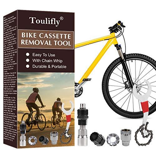 Toulifly 7in-1 Fahrrad Kassette Removal Tool mit Kurbelabzieher und Innenlager-Entferner 5-11 Fach Kompatibel Kettenpeitsche Fahrrad Reparatur Werkzeug Set Kurbel Kette Achse Demontage Werkzeug