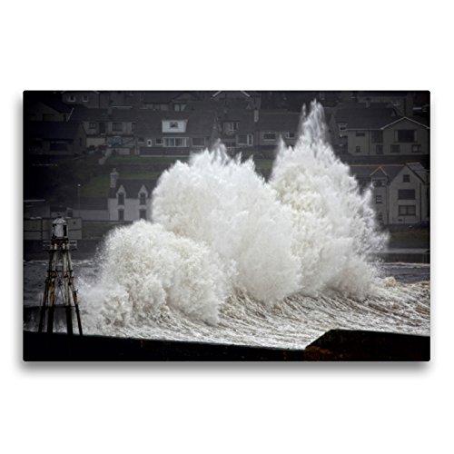 CALVENDO Premium Textil-Leinwand 75 x 50 cm Quer-Format Wick, Sturm im Hafen, Caithness, Schotland, Leinwanddruck von Martina Cross