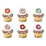Package of 24 plastic cupcake topper rings 6 assorted designs