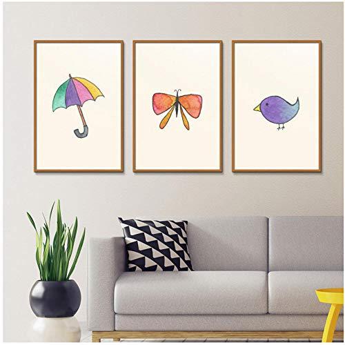 WENJING Nordic Art schilderij stijl paraplu vogel cactus vlinder foto's moderne canvas druk poster meisjes kamer wanddecoratie 40 x 50 cm x 3 stuks geen lijst
