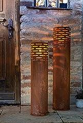 2 Windlicht-Säulen aus Metall im
