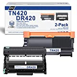 [Black,2-Pack] Compatible TN420 TN-420 Toner Cartridge & DR420 DR-420 Drum Unit Replacement for Brother DCP-7060D DCP-7065D Intellifax 2840 Intellifax 2940 HL-2270DW HL-2275DW HL-2280DW Printer
