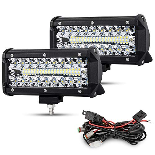 Rigidhorse 4 Inch LED Light Bar 50w 6000lm Driving Fog Off Road Light Pods Triple Row Spot Flood Combo Beam Cubes Lights For Pickup Truck Jeep ATV UTV SUV Boat 2 Years Warranty