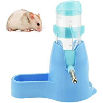 3 in 1 Hamster Hanging Water Bottle Pet Auto Dispenser with Base for Dwarf Hamster Mouse Rat Hedgehog (80ML, Blue)
