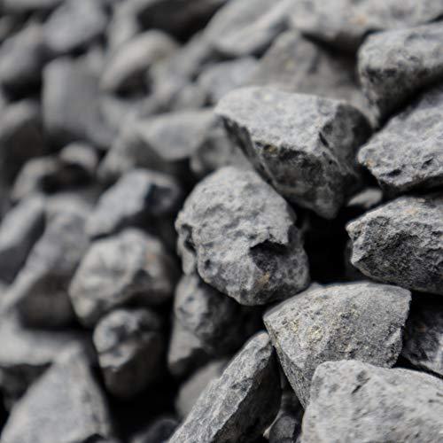 Holtaz Garten-Ziersteine, Kies für Garten Deko, Dekoration Steine für Gartentöpfe Blumentopf Kieselsteine Edelsplitt Dunkler Granit (oder: Grauer Granitsplitt) 16-22mm 25kg