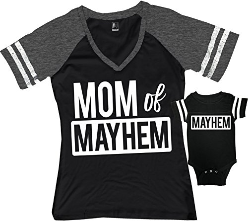 Mom of Mayhem Shirt Black & Mayhem Kids Baby Boy Matching Set (Mom Black/Baby Black, Mom Small/Baby 12M)